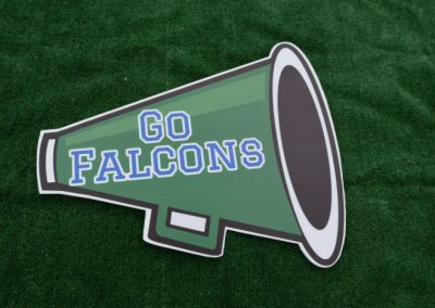 Woodinville High School Falcons Cheer Megaphone Spirit Yard Sign