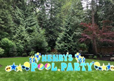 Pool Party Happy Birthday Yard Signs