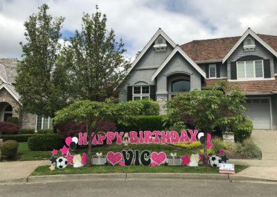 Pink Glitter Happy Birthday Yard Signs