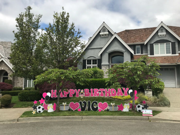 pink glitter happy birthday yard signs
