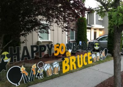 50th Birthday Yard Signs with beer mugs and over the hill signs
