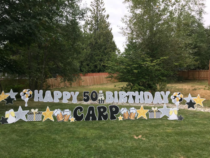 Yard Announcements can help you rock a 50th Birthday Party with our awesome Birthday Yard Signs