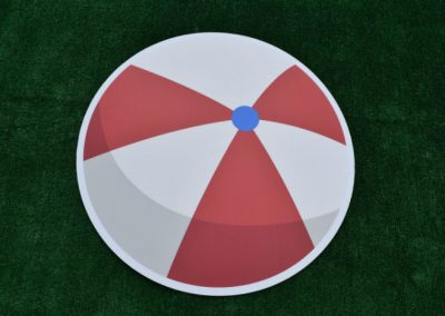Beach Ball Yard Sign Red White