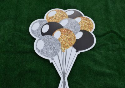 Black Silver Gold Glitter Balloon Bouquet Yard Sign