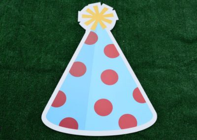 Blue Red Polka Dot Birthday Hat Yard Sign