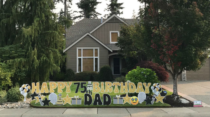 Gold Glitter Happy 75th Birthday Yard Signs