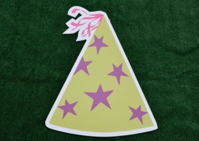 Green Purple Stars Birthday Hat Yard Sign