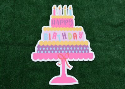 Happy Birthday Cake Pink Purple Yard Sign