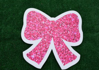 Mini Pink Glitter Bow Yard Sign