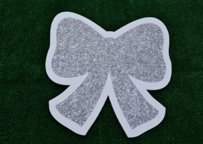Mini Silver Glitter Bow Yard Sign