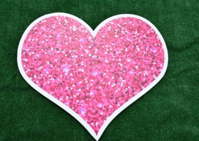 Pink Glitter Sparkle Heart Yard Sign