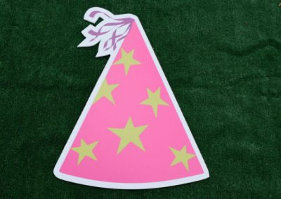 Pink Green Star Birthday Hat Yard Sign