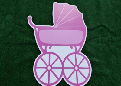 Pink Its a Girl Baby Buggy Yard Sign
