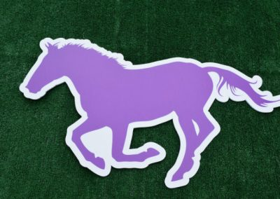 Purple Mustang School Logo Yard Sign