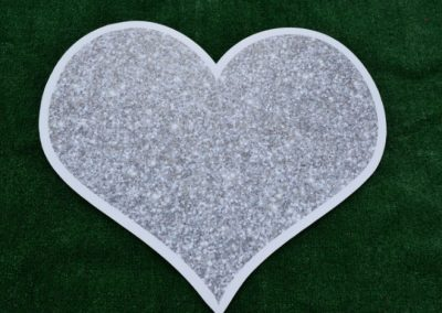 Silver Glitter Sparkle Heart Yard Sign
