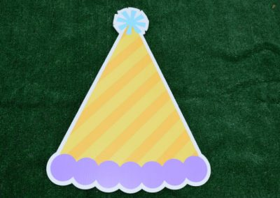 Yellow Purple Birthday Hat Yard Sign