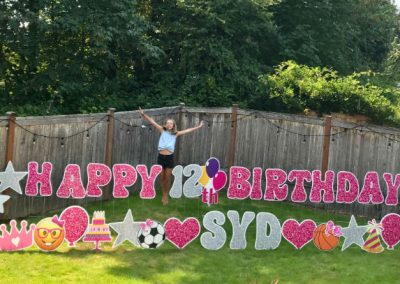 pink glitter 12th birthday Yard Signs