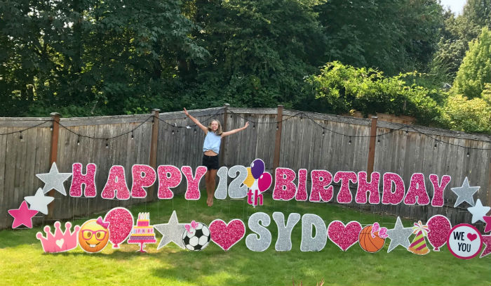 Spreading Smiles Around Town with our FUN Glitter Birthday Yard Signs