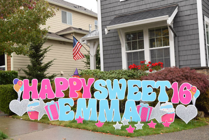 Turning 16 is SWEET!  Make it Even Sweeter with Birthday Yard Signs by Yard Announcements!
