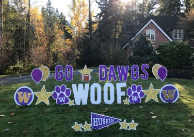 Purple Gold Go Dawgs Woof Yard Signs