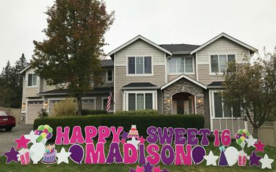 What a SWEET surprise!  Sweet 16 Birthday Yard Signs by Yard Announcements