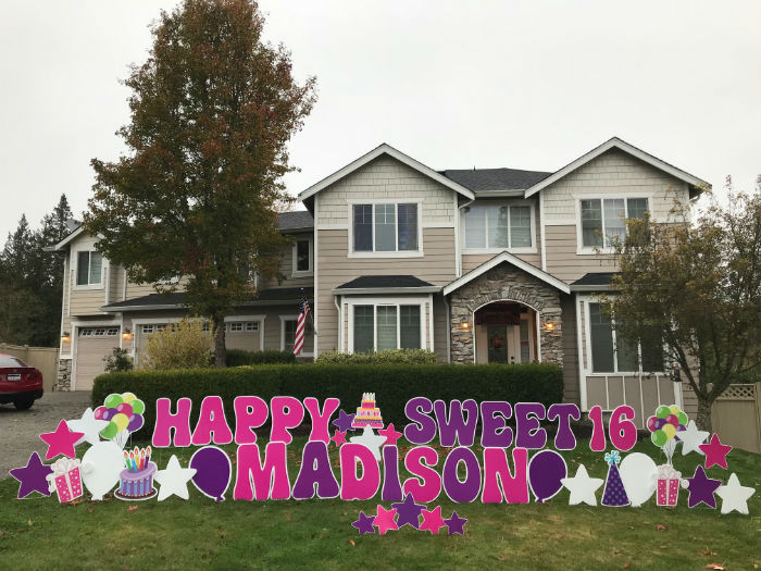 sweet 16 pink purple birthday yard signs