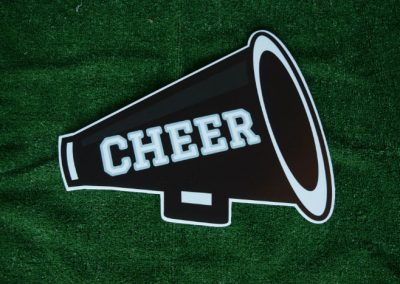 Black Cheer Megaphone Yard Sign