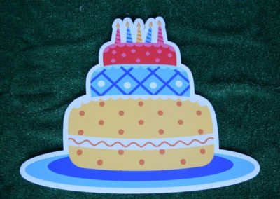 Blue Red Yellow Birthday Cake Yard Sign