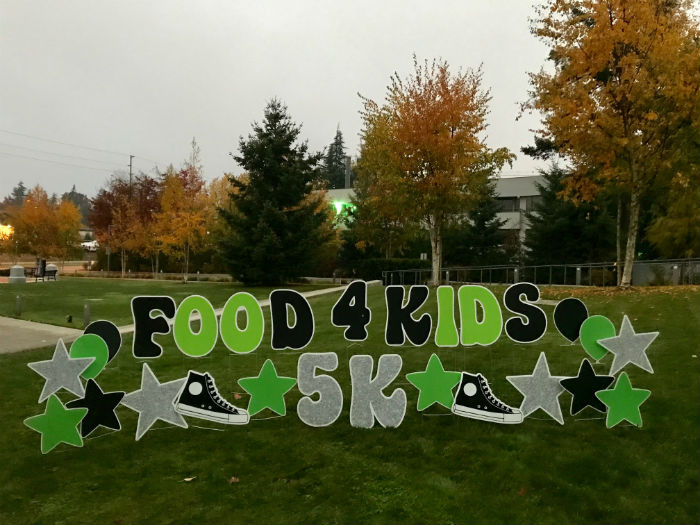 food 4 kids 5k fun run yard signs