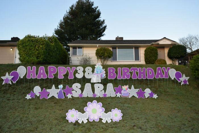 Silver Purple HBD Yard Signs