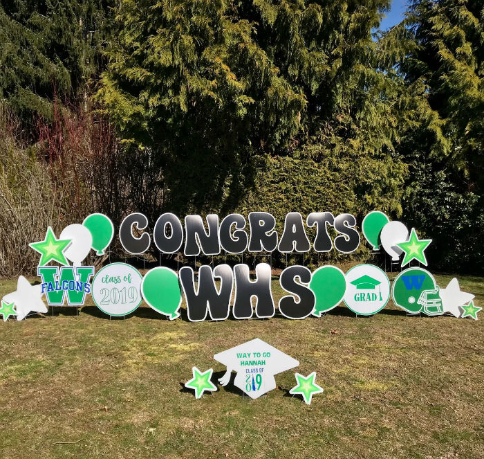 Hey Woodinville Falcons Class of 2019 – Celebrate graduation with our festive Graduation Yard Signs – They're bigger and brighter than Graduation Banners!