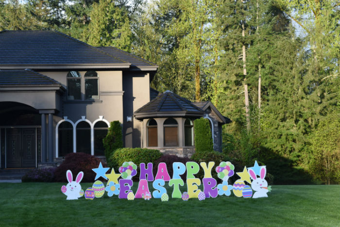 happy easter yard signs