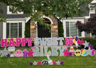Happy Sweet 16 Riley Birthday Yard Signs