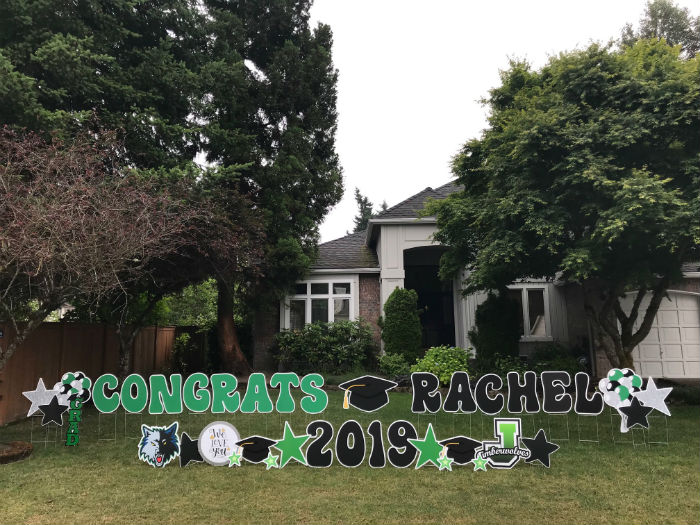 Add Some Pizazz to your Grad Party Decorations with BIG and BOLD Graduation Yard Signs by Yard Announcements !