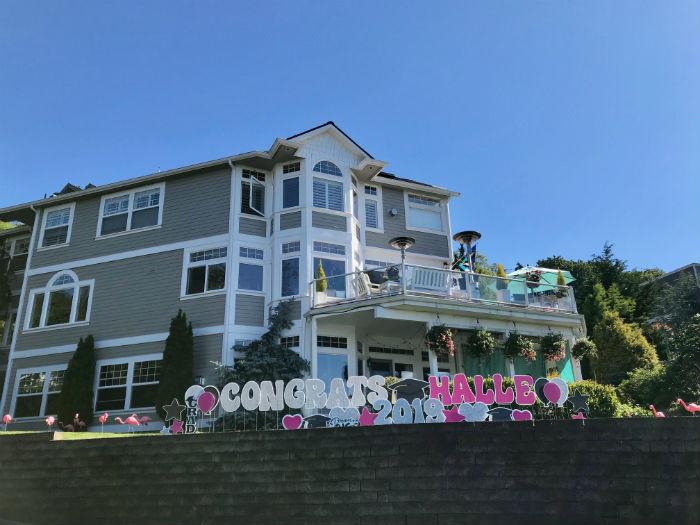Pink Silver Congrats Grad Yard Signs