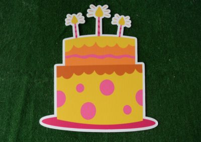 Birthday Yellow Cake with pink polka dots yard sign