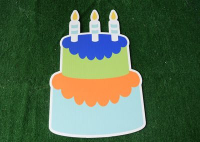Birthday blue lime cake yard sign