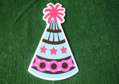 Birthday blue pink party hat yard sign