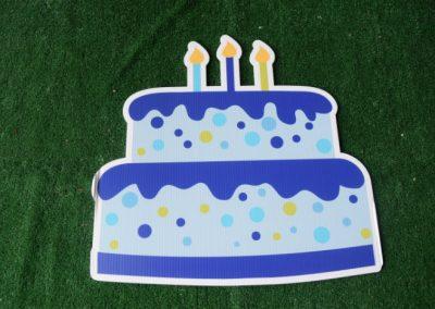 Birthday blue polka dot cake yard sign
