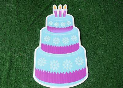 Birthday blue purple snowflake cake yard sign