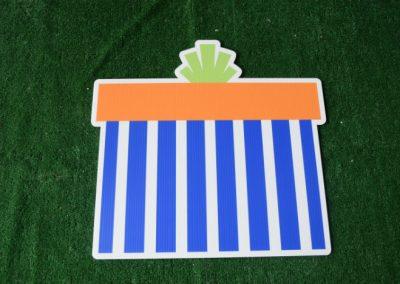 Birthday blue striped orange present yard sign