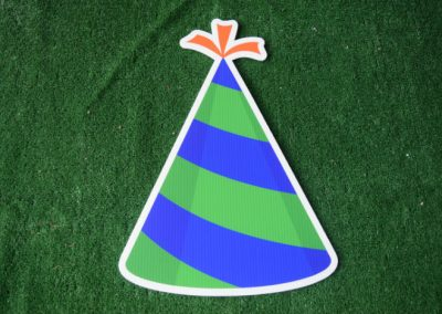 Birthday green royal blue striped party hat yard sign