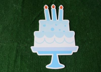 Birthday light blue cake on stand yard sign