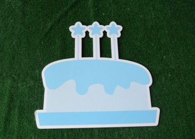 Birthday light blue cake with star candles yard sign