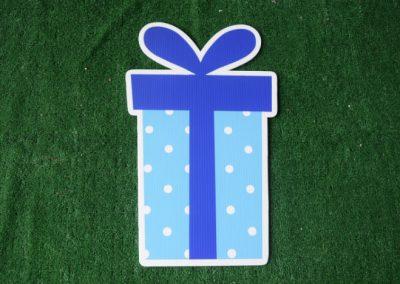 Birthday light blue polka dot present yard sign
