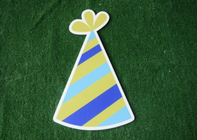 Birthday lime blue party hat yard sign