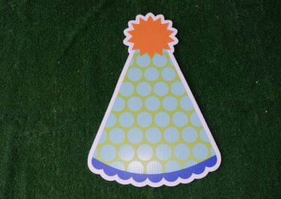 Birthday lime light blue orange party hat yard sign