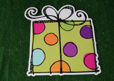Birthday lime polka dot present yard sign