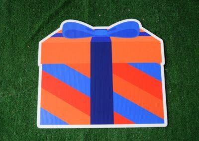 Birthday orange blue vertical stripes yard sign