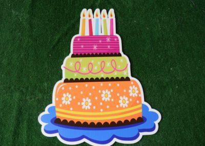 Birthday orange lime pink cake yard sign